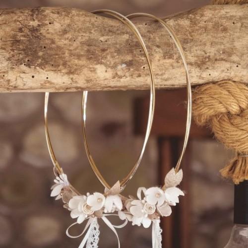 013. Επίχρυση-λευκόχρυση βέργα και μεταξωτά λουλούδια